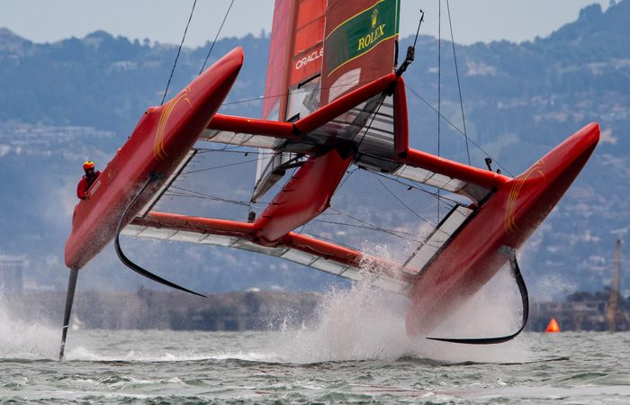 China SailGP Team skippered by Phil Robertson warming up ahead of Fleet Race 4. Race Day 2 Event 2 Season 1 SailGP event in San Francisco, California, United States. 05 May 2019.
