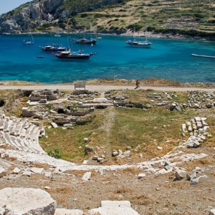Boats and Amphitheatre of Knidos , Mugla, Turkey