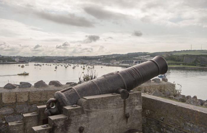 Cannon above the entrance to Sutton Harbour