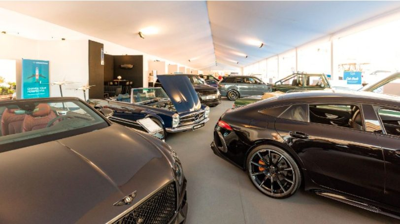 Luxury cars and motorbikes at the 2021 Monaco Yacht Show